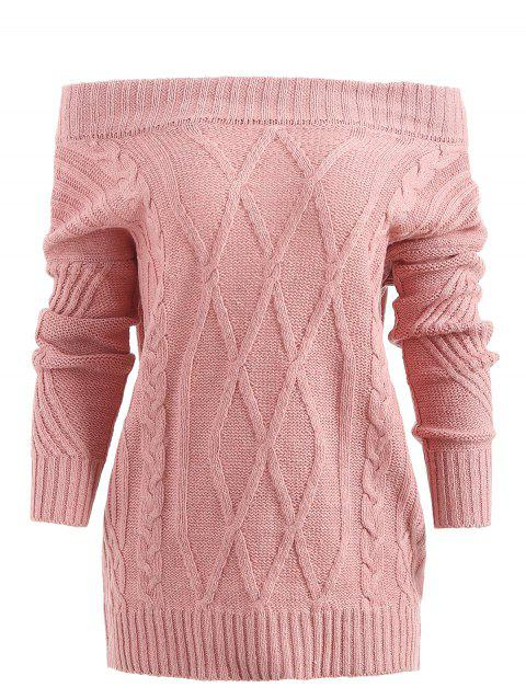 Off Shoulder Geometric Pullover Sweater - PINK L
