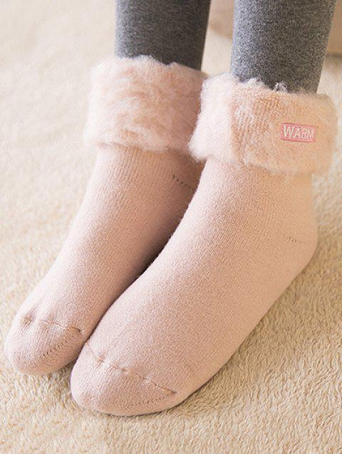 Warm Embroidery Flanging Winter fuzzy socks - PINK
