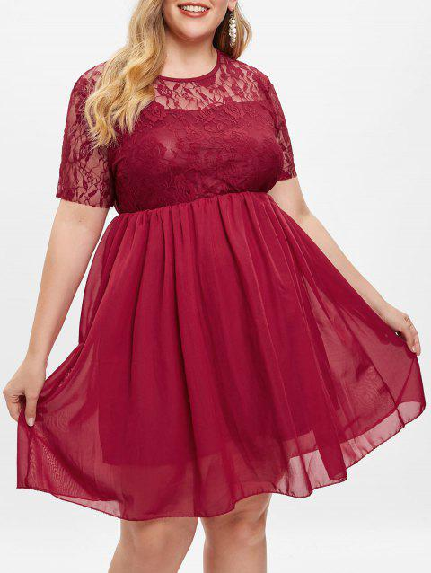 Lace Insert Plus Size A Line Dress - RED WINE 4X