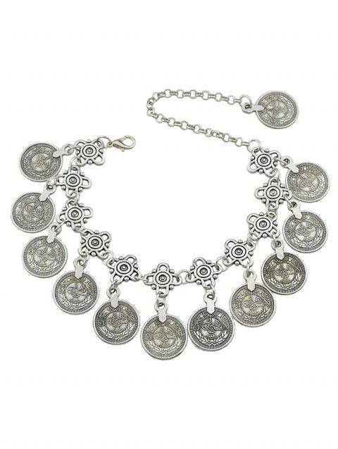 Layered Coins Design Alloy Anklet - SILVER
