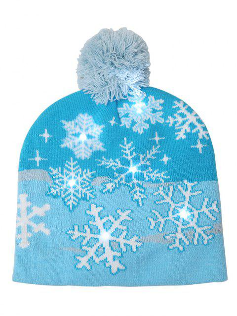 Furry Ball Snowflake Christmas Knitted Beanie - SKY BLUE