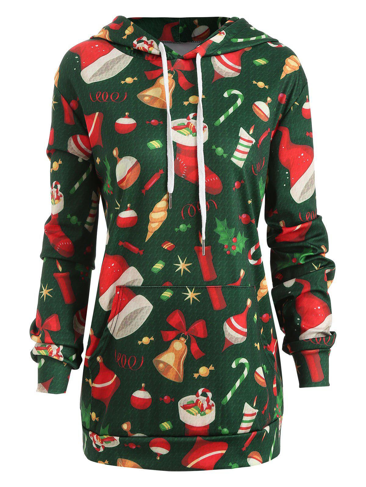 Christmas Plus Size Printed Graphic Hoodie - multicolor 2X