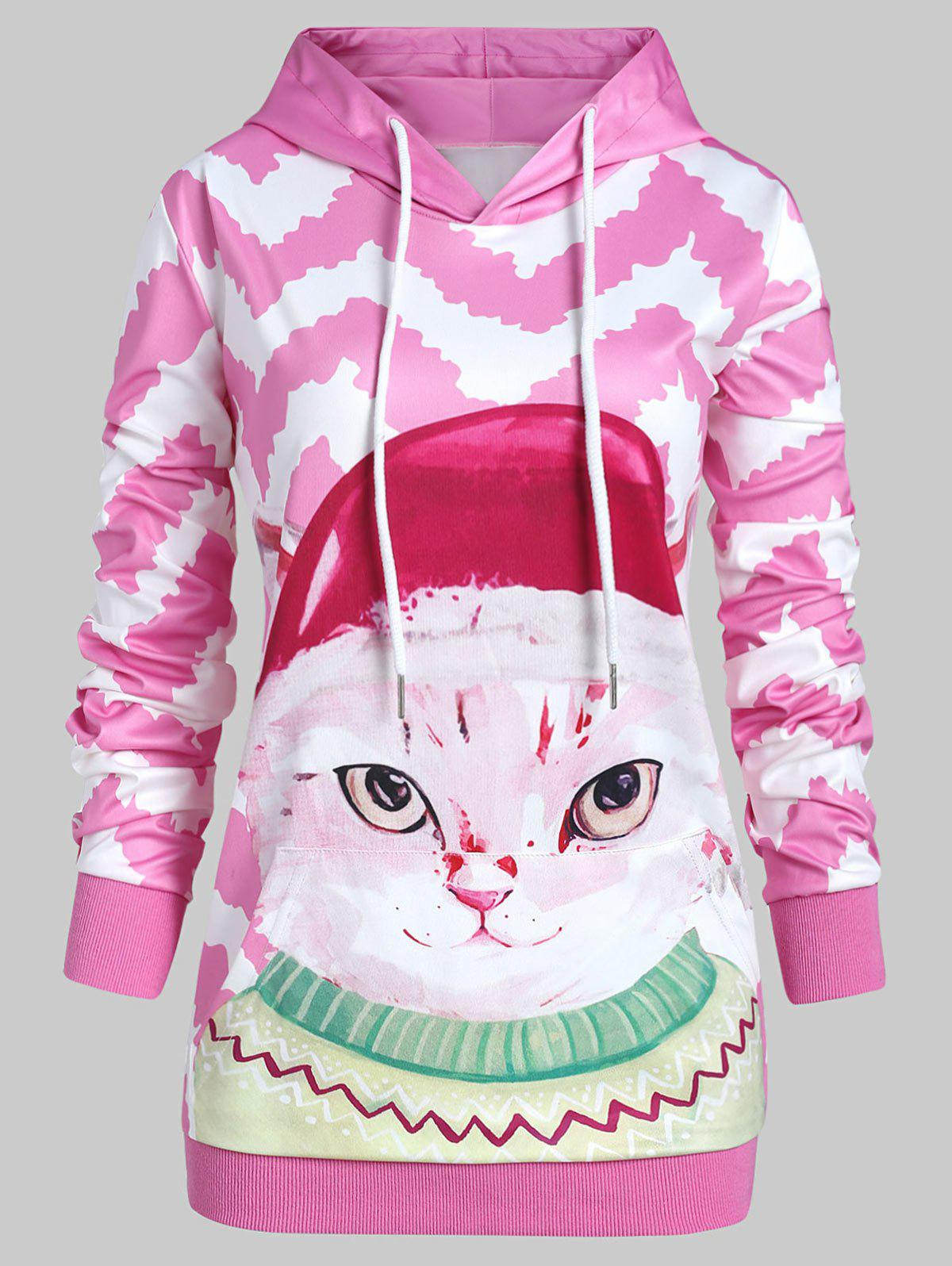 Plus Size 3D Cat Zigzag Pullover Hoodie with Pocket - PINK 2X