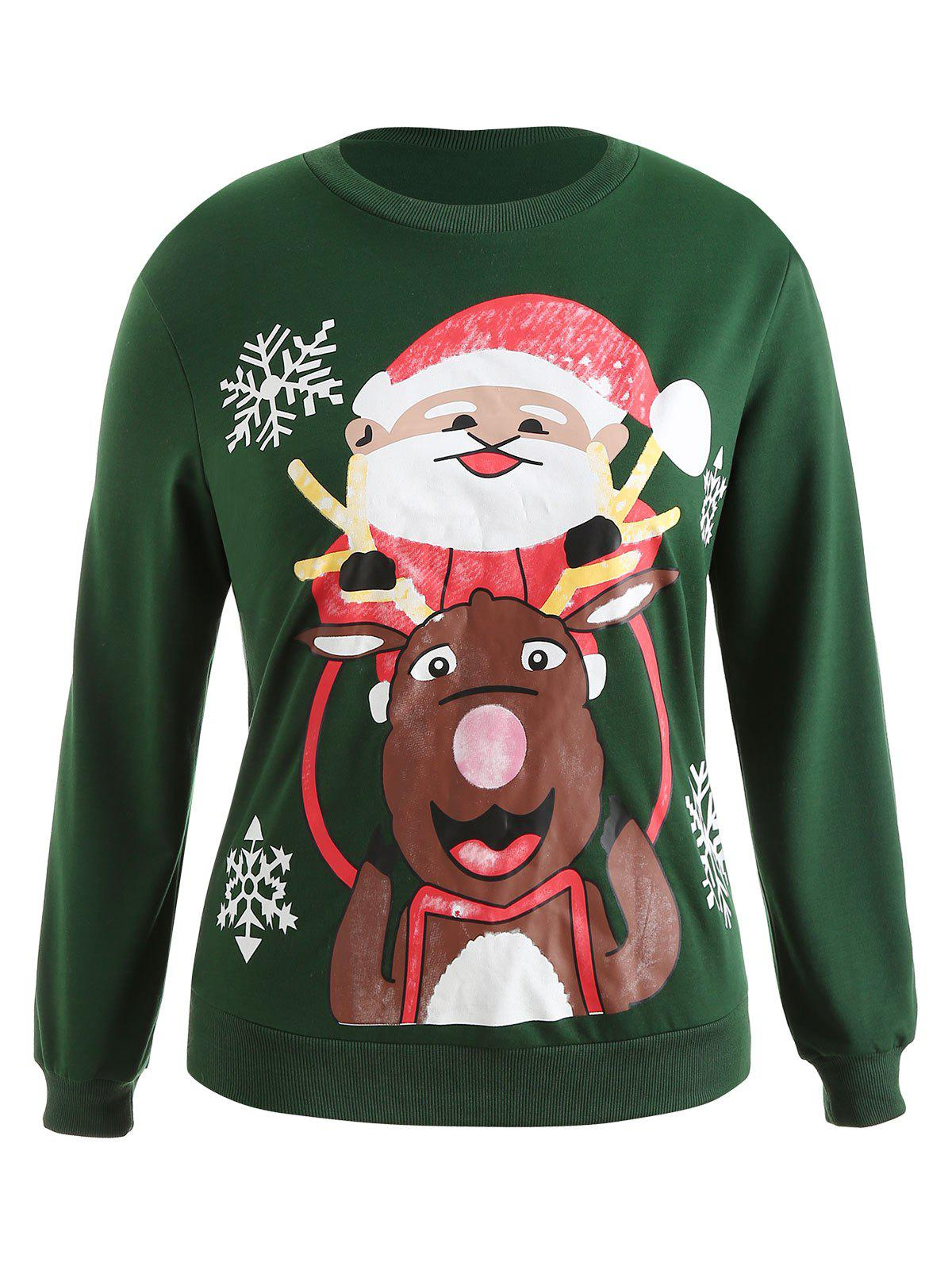 Plus Size Pullover Christmas Graphic Sweatshirt