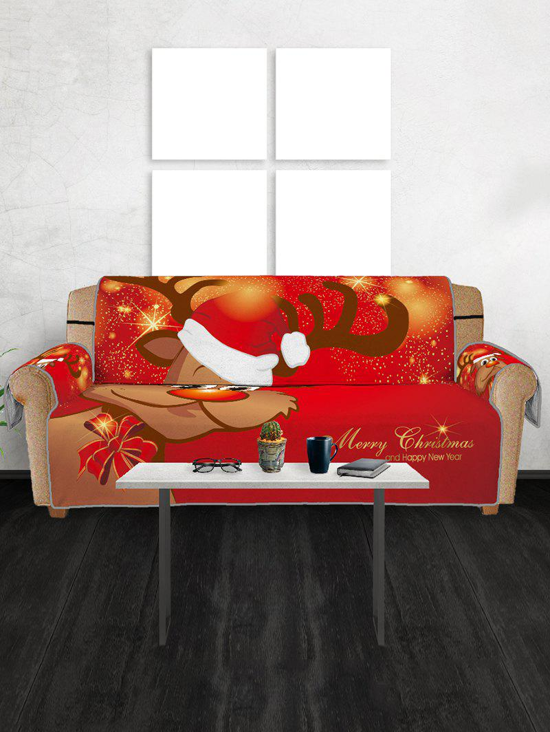 Christmas Elk Pattern Couch Cover - RED THREE SEATS