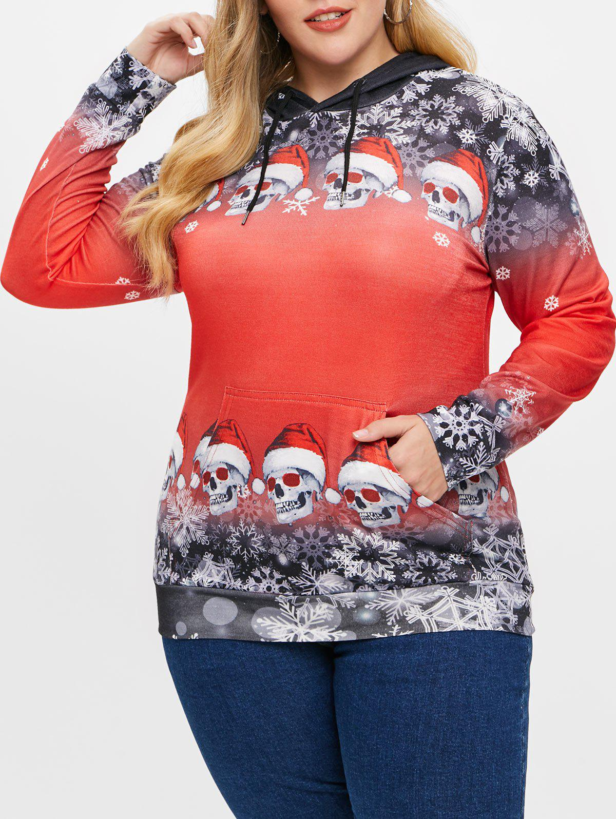 Plus Size Christmas Skulls Snowflake Pullover Hoodie - ROSSO RED 4X