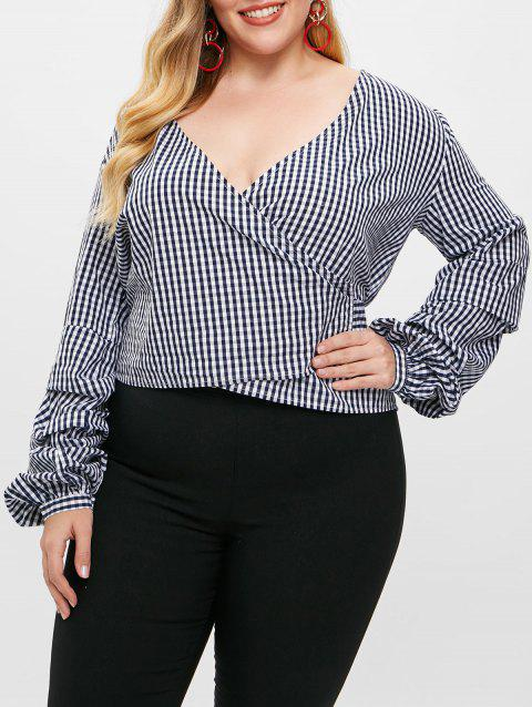 Plus Size Gingham Bowknot Wrap Top