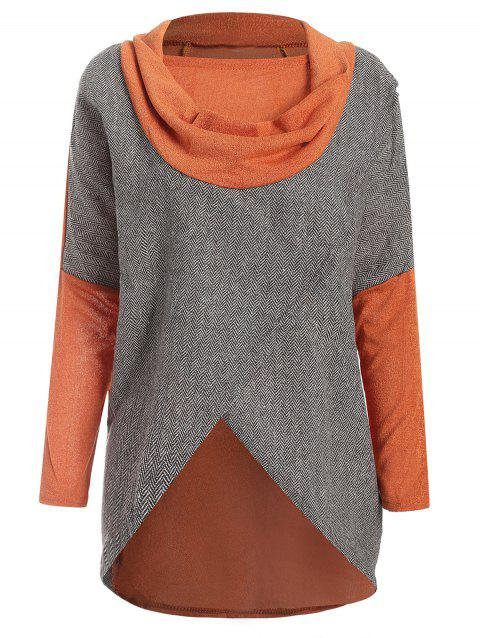 Stylish Cowl Neck Long Sleeves Color Match Batwing Irregular Design Cotton Blend Women's Sweater - JACINTH ONE SIZE