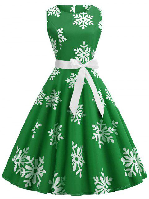Plus Size Christmas Snowflake Vintage Flare Dress - GREEN L