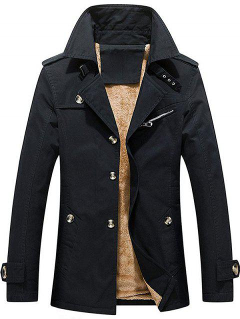 Winter Fluffy Lined Button Up Jacket - BLACK L