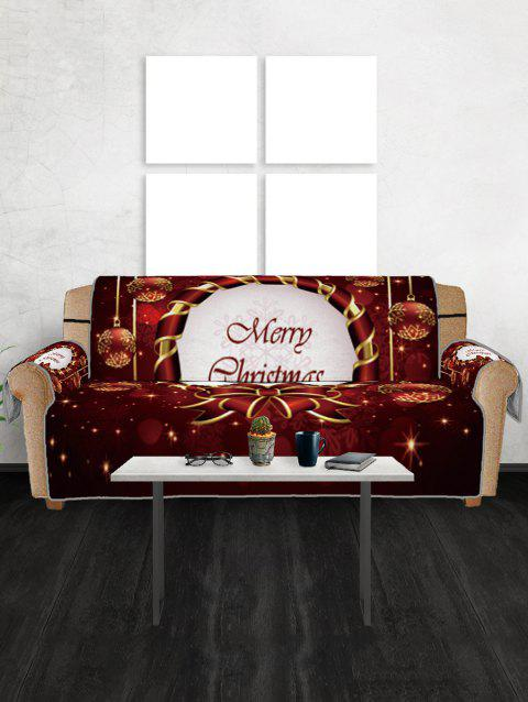 Christmas Bowknot Baubles Printed Sofa Cover - multicolor THREE SEATS