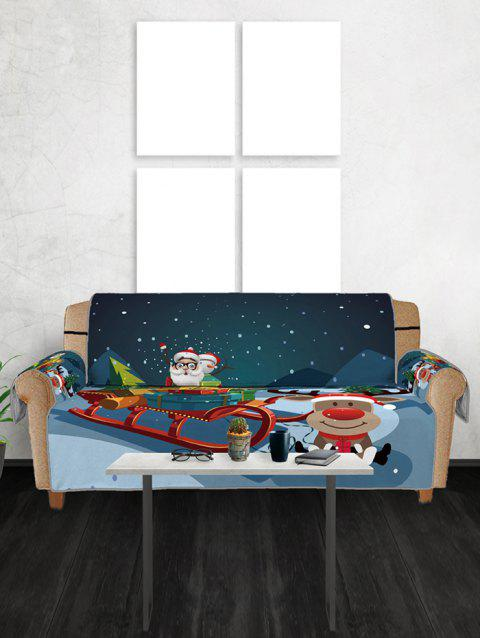 Father Christmas Elk Pattern Couch Cover - PEACOCK BLUE THREE SEATS