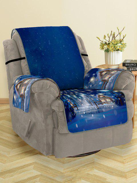 Christmas Night Pattern Couch Cover - DENIM DARK BLUE SINGLE SEAT
