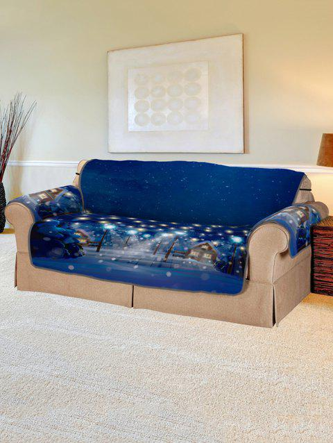 Christmas Night Pattern Couch Cover - DENIM DARK BLUE TWO SEATS