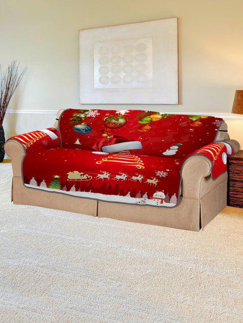 Christmas Tree Hat Snowman Pattern Couch Cover - LAVA RED TWO SEATS