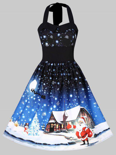 Christmas Print Halter Fit and Flare Dress - multicolor XL