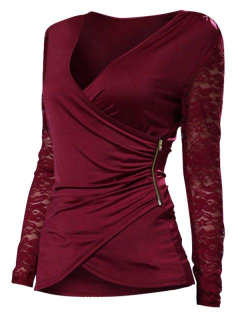 Plus Size Lace Spliced V Neck Wrap Tee - RED WINE L