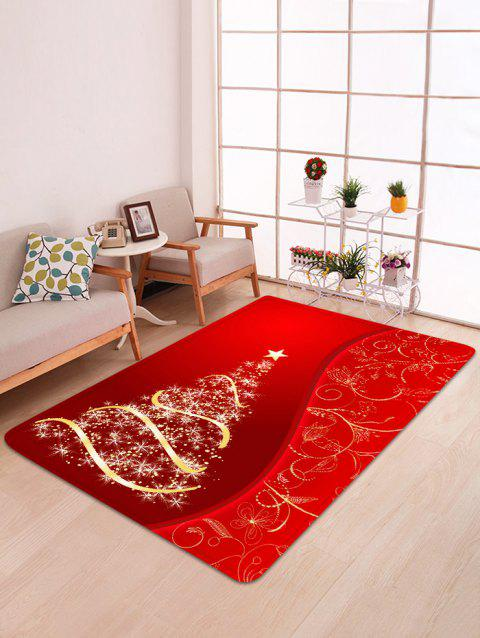 Christmas Tree and Star Print Water Absorption Area Rug - LAVA RED W47 X L63 INCH