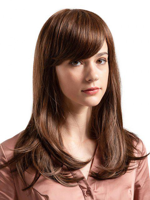 Inclined Bang Long Straight Capless Human Hair Wig - COFFEE