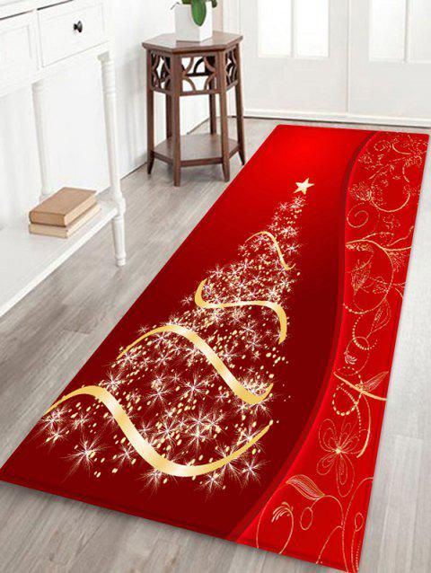 Christmas Tree and Star Print Water Absorption Area Rug - LAVA RED W24 X L71 INCH