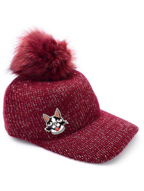 2018 Puppy Dot Fuzzy Ball Baseball Cap In RED WINE  bcdf0ee4a4b