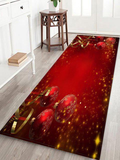 Red Christmas Balls Pattern Non-slip Area Rug - LAVA RED W24 X L71 INCH