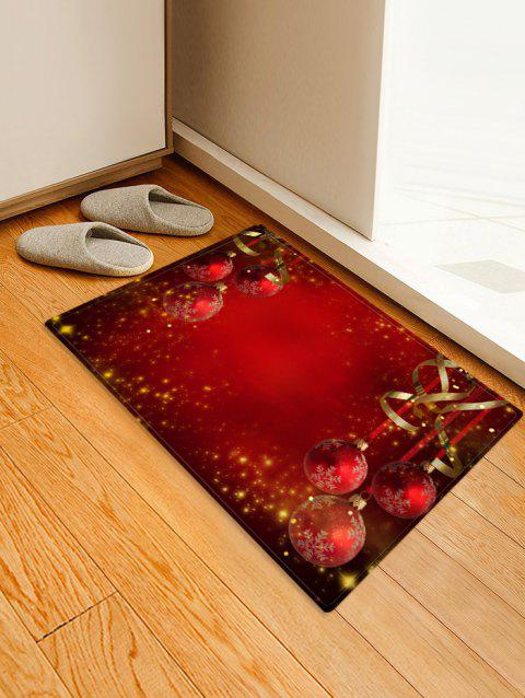 Red Christmas Balls Pattern Non-slip Area Rug - LAVA RED W16 X L24 INCH
