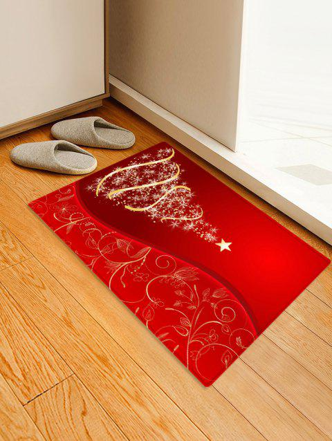 Christmas Tree and Star Print Water Absorption Area Rug - LAVA RED W16 X L24 INCH
