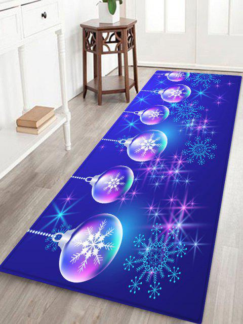 Christmas Ball and Snowflake Printing Non-slip Area Rug - BLUEBERRY BLUE W20 X L31.5 INCH