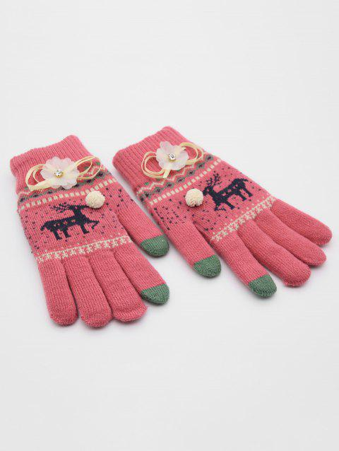 Rhinestone Christmas Elk Full Finger Gloves - RED