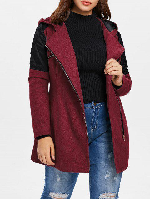 Plus Size Contrast Zip Fly Woollen Coat - RED WINE 5X
