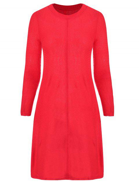Round Collar Long Sleeve Knitted Dress - RED S