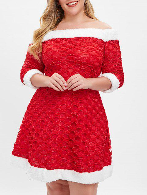 Off Shoulder Christmas Plus Size Dress - RED 5X