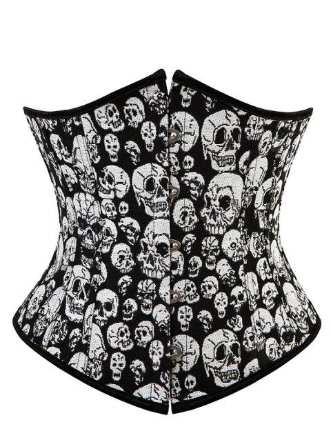 Lace Up Skull Jacquard Corset - BLACK M