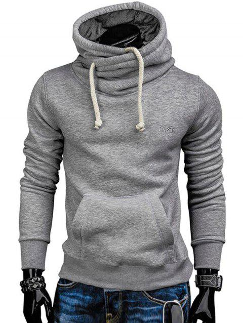 Whole Colored Drawstring Casual Hoodie - LIGHT GRAY S