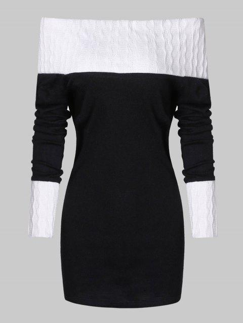 Color Block Off The Shoulder Bodycon Sweater - BLACK XL