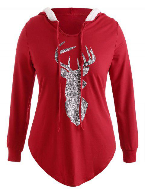 Plus Size Pullover Elk Christmas Hoodie with Faux Fur - RED 2X