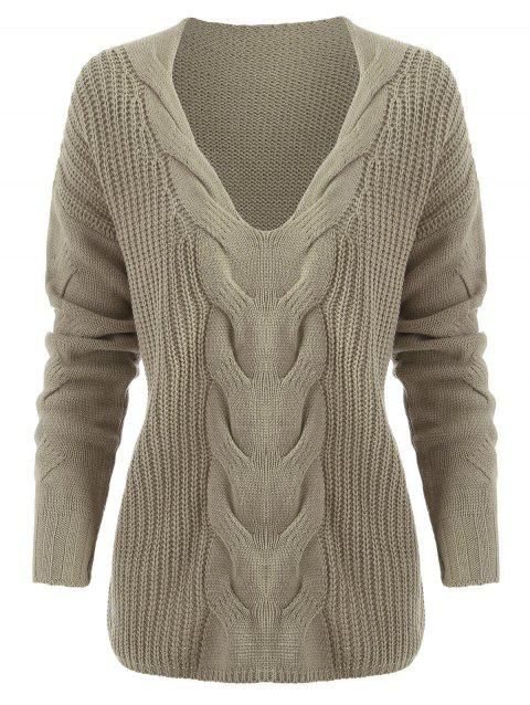 Plunging Neck Cable Knit Sweater - LIGHT KHAKI 2XL