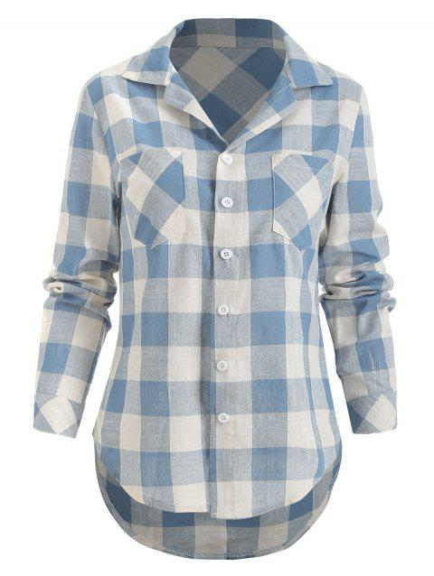 Front Pockets Button Up Checked Shirt - JEANS BLUE M