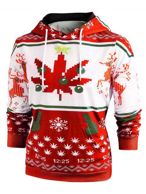 Christmas Snowflake Print Long Sleeve Hoodie - RED XL