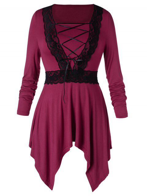 Plus Size Lace Up Handkerchief Dress - RED WINE 1X