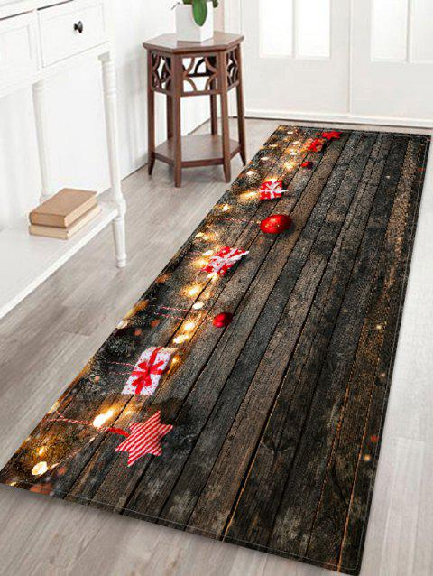 Wood Board and Gift Pattern Non-slip Area Rug - multicolor W24 X L71 INCH