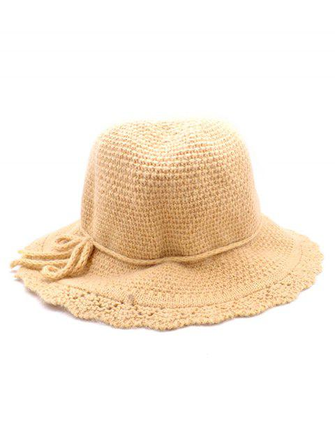 2019 Vintage Bowknot Solid Color Knit Bucket Hat In TAN  0eafdf86268f