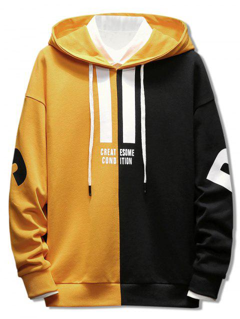 Contrast Color Letter Drawstring Hoodie - BRIGHT YELLOW M