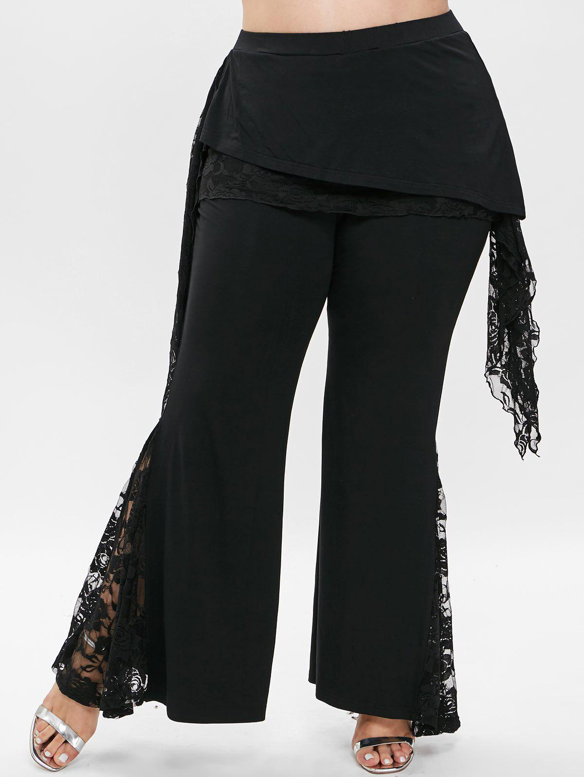 Plus Size Overlay Lace Detail Flare Pants