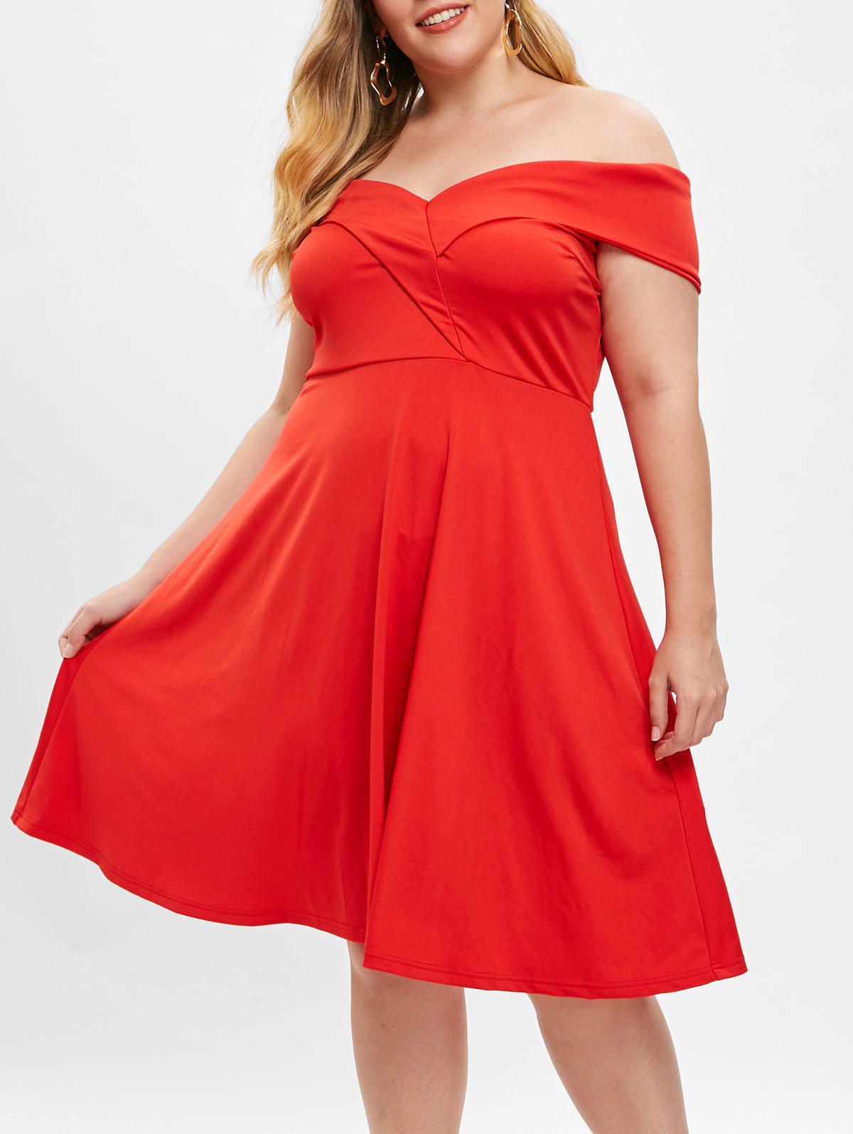 Plus Size Off Shoulder Flared Dress - RED L