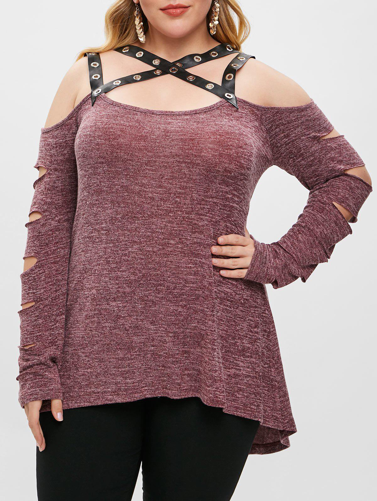 Plus Size Cut Out PU Leather Straps T Shirt - DULL PURPLE 2X