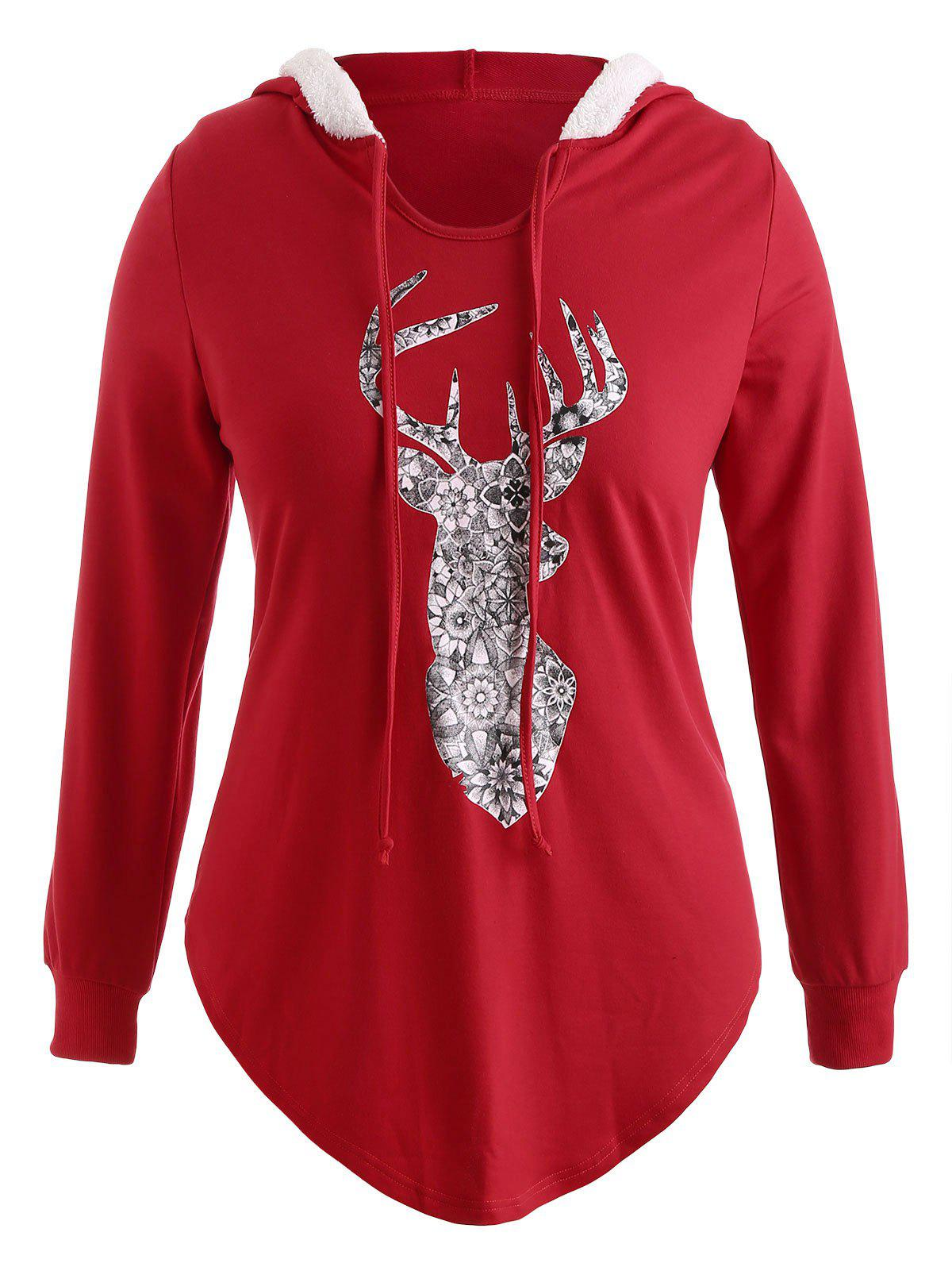 Plus Size Pullover Elk Christmas Hoodie with Faux Fur - RED 3X