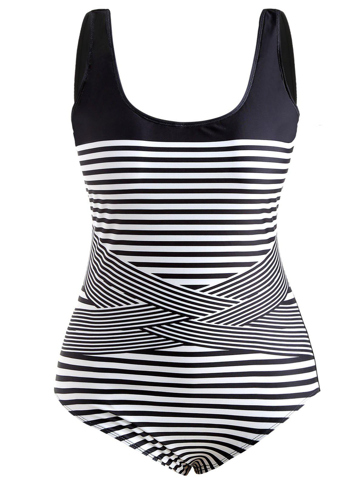Scoop Neck Plus Size Striped Panel Swimwear - BLACK 2X