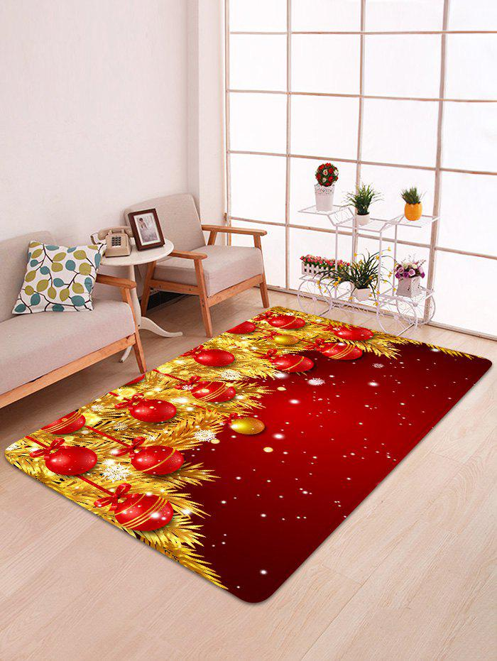 Christmas Ball Gold Leaves Pattern Non-slip Area Rug - LAVA RED W47 X L63 INCH